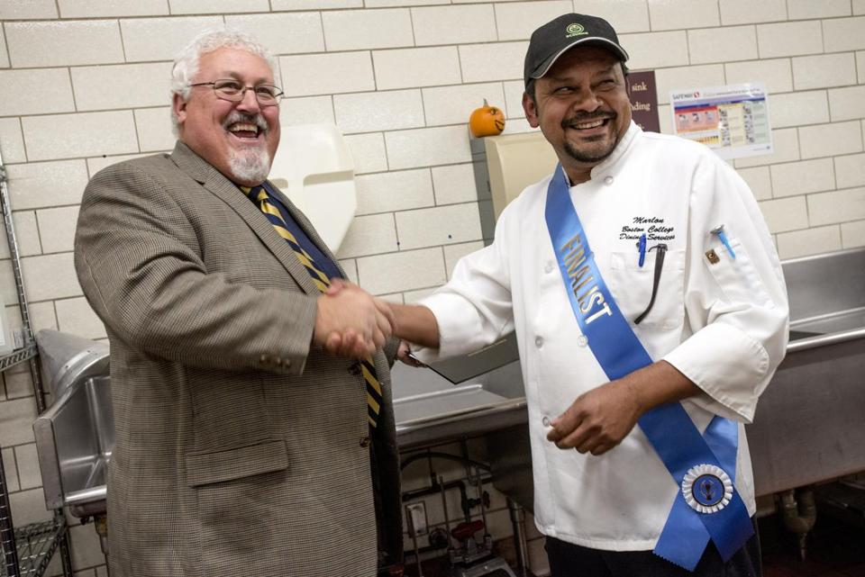 Cook of the Year Marlon Mazier (right) with Bob Luz.