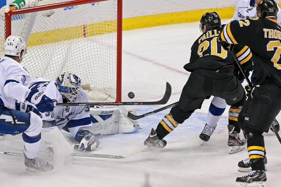 The Bruins' Daniel Paille (20) beats Lightning goalie Anders Lindback in the second period to put Boston ahead, 2-0. Paille's goal came 20 seconds after a Patrice Bergeron strike.