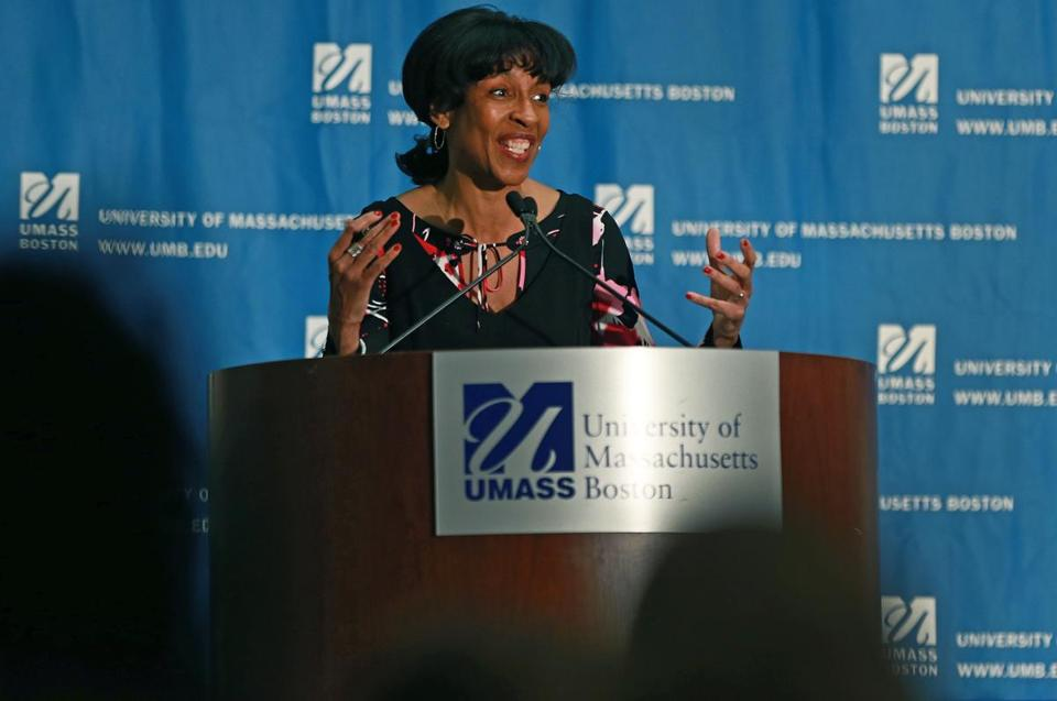 "Charlotte Golar Richie was the keynote speaker at ""Opening Doors: Women's Political Leadership in Boston"" at UMass Boston."