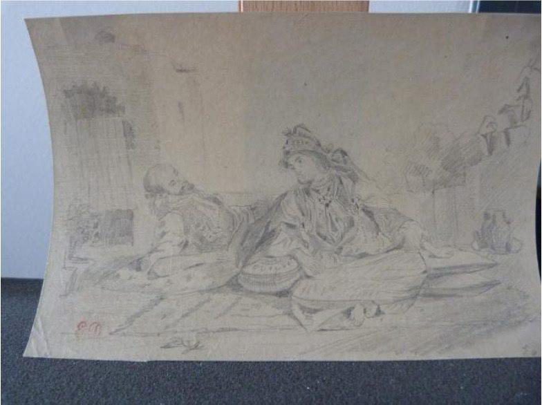 German officials are trying to track the origins of 590 artworks by listing them on the website lostart.de. Among the first images posted there are a Delacroix drawing, ''Moorish Conversation on a Terrace.""