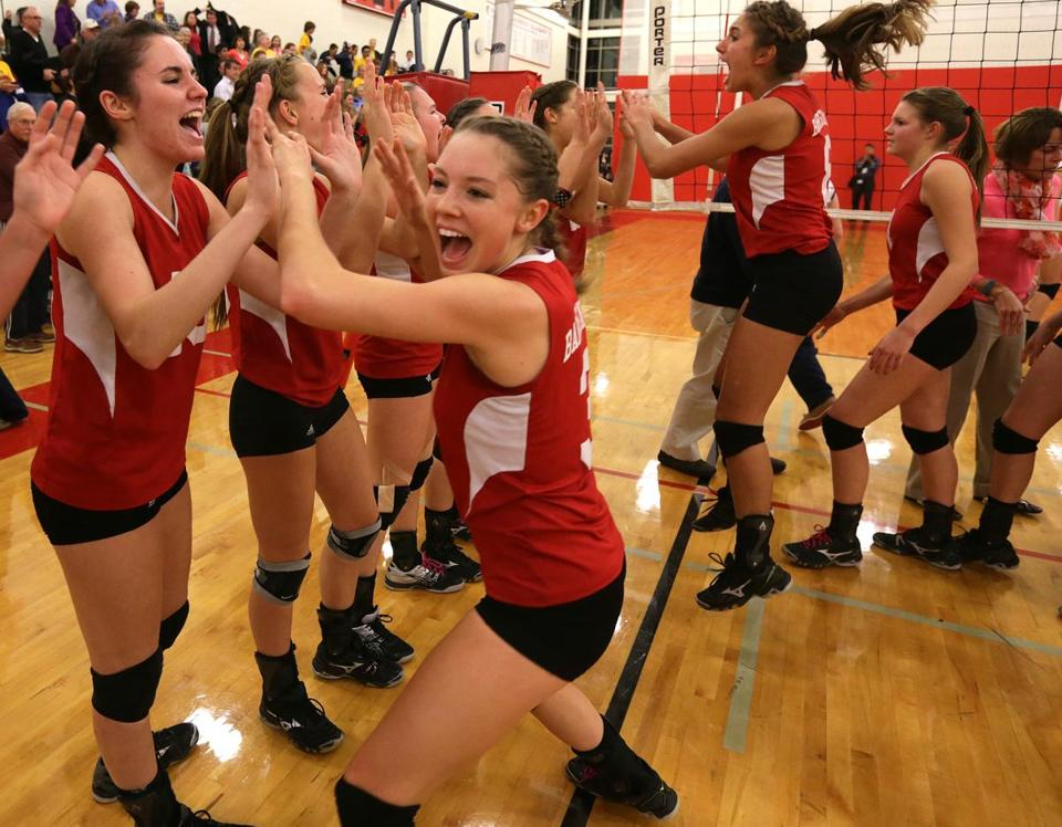 Olivia Brodt (3) had a good time with her teammates as three-time defending state champion Barnstable returned to the title game.