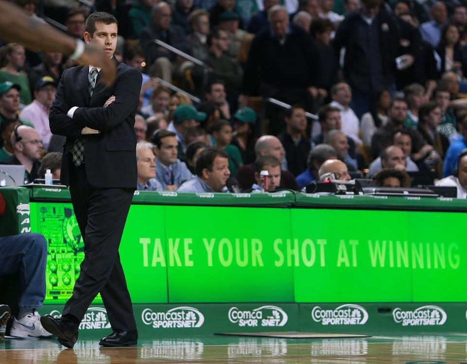 Celtics coach Brad Stevens roamed the sideline on Wednesday.