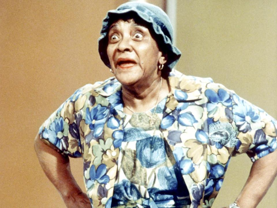 Moms Mabley (above) circa 1970 and (below) with Merv Griffin in 1969.
