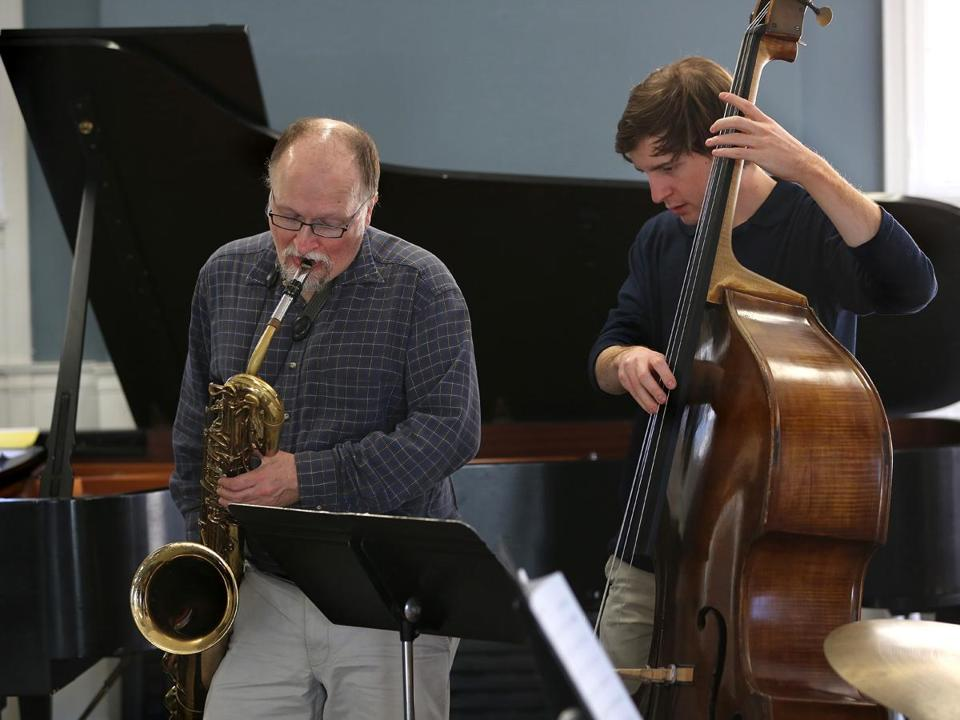 Charlie Kohlhase (left) playing with Robin Rhodes at the  Longy School of Music.