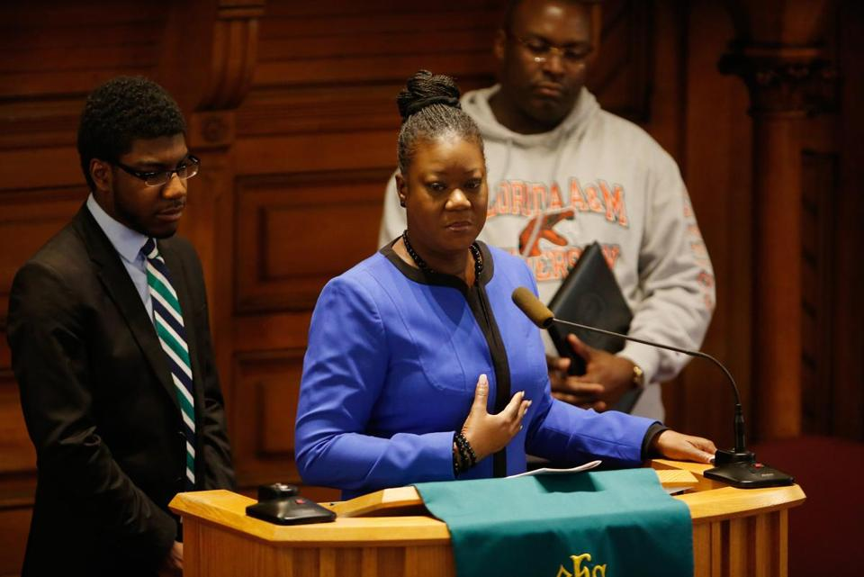 Sybrina Fulton, mother of Trayvon Martin, stood between a family lawyer and her other son, Jahvaris Fulton. She spoke at St. Paul African Methodist Episcopal Church.