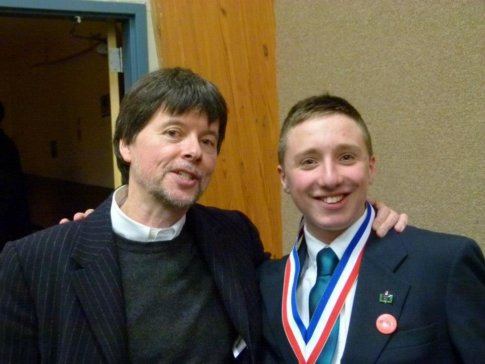 Documentary filmmaker Ken Burns with competition winner Ethan Pond.
