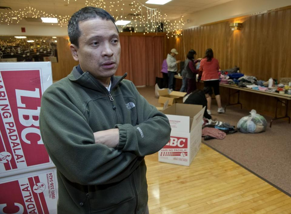Antonio Obsequio, a native of Guiuan, Philippines, helped collect donations at the VFW post in Needham.