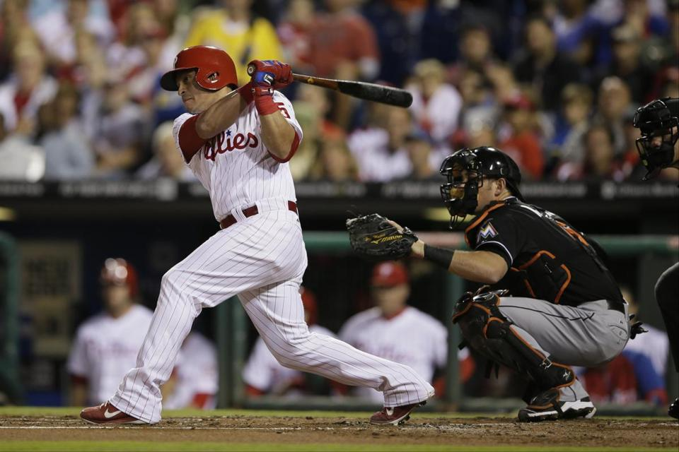 Catcher Carlos Ruiz, who will be 35 in January, got a three-year deal  from Philadelphia. (AP Photo/Matt Slocum)