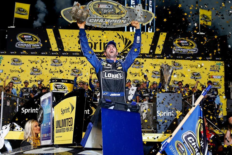 Although Jimmie Johnson finished ninth in the Ford EcoBoost 400 on Sunday, he won the right to celebrate his sixth Sprint Cup championship.