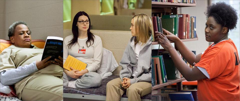 "Actors with books in the Netflix series ""Orange Is the New Black"": (from left) Michelle Hurst; Laura Prepon and Taylor Schilling; and Danielle Brooks."