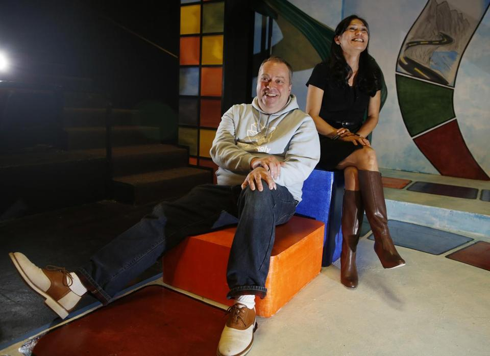 "Director Larry Coen and star Celeste Oliva on the set of ""Becky's New Car"" at the Lyric Stage."