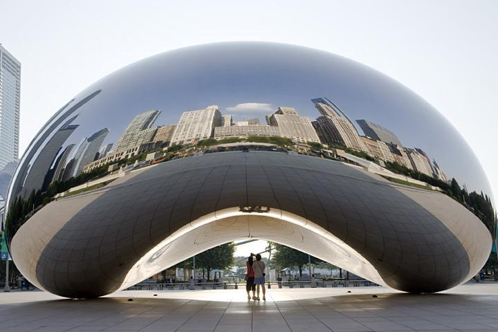 "The 110-ton, 30-foot high ""Cloud Gate"" sculpture in Millennium Park was designed by renowned British artist Anish Kapoor."