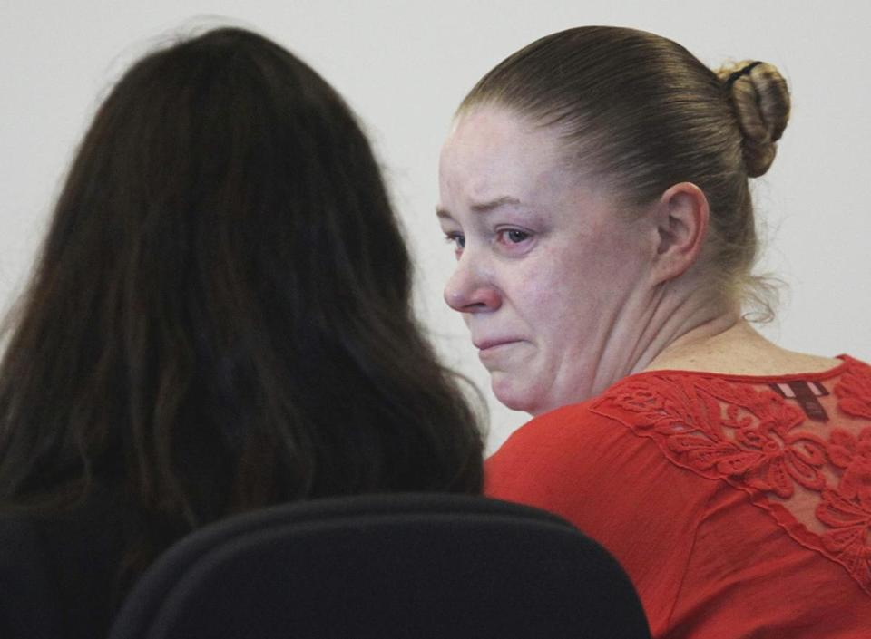 Aisling Brady McCarthy (right) sat with her attorney during a hearing in September.
