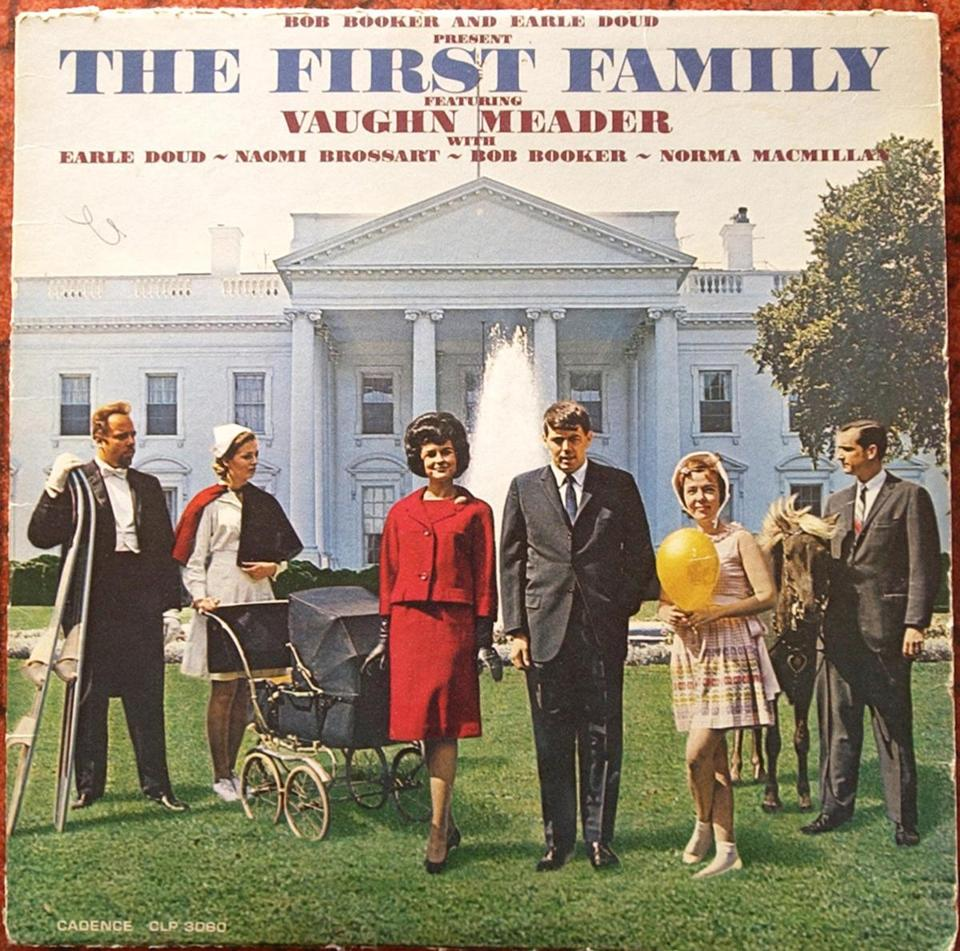 Vaughn Meader, center right as JFK, is shown on his 1962 album ''The First Family.""
