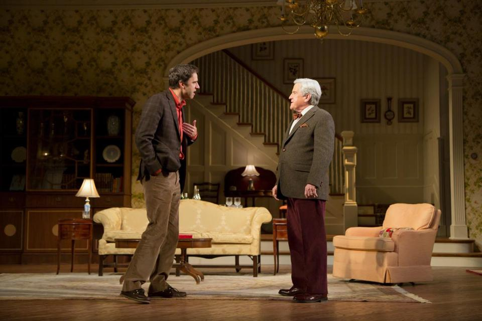 "James Waterston (left) and Richard Poe in the Huntington Theatre Company's production of ""The Cocktail Hour."""
