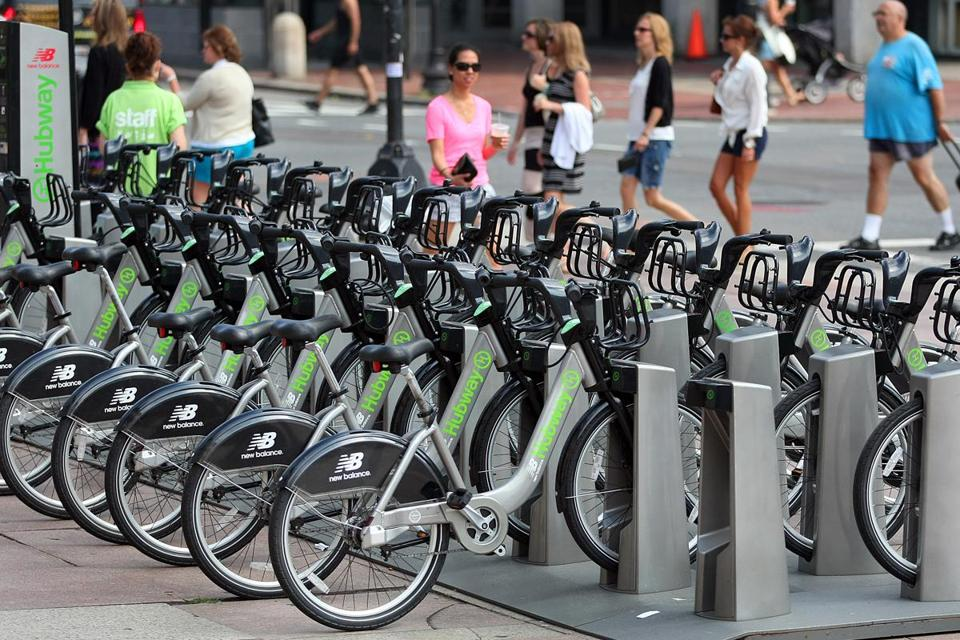 Hubway bikes on a rack in Copley Square are ready to go. But, salt aside, the bikes can also roll in winter weather.