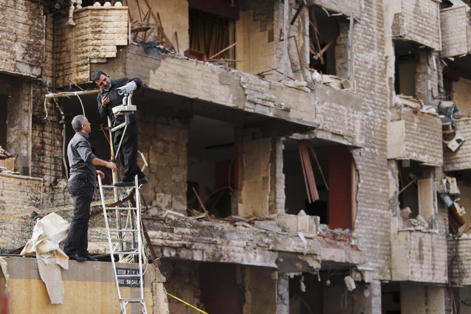 The double bombing sheared the face off a three-story building and damaged at least two other buildings in the area of the embassy compound in Beirut.