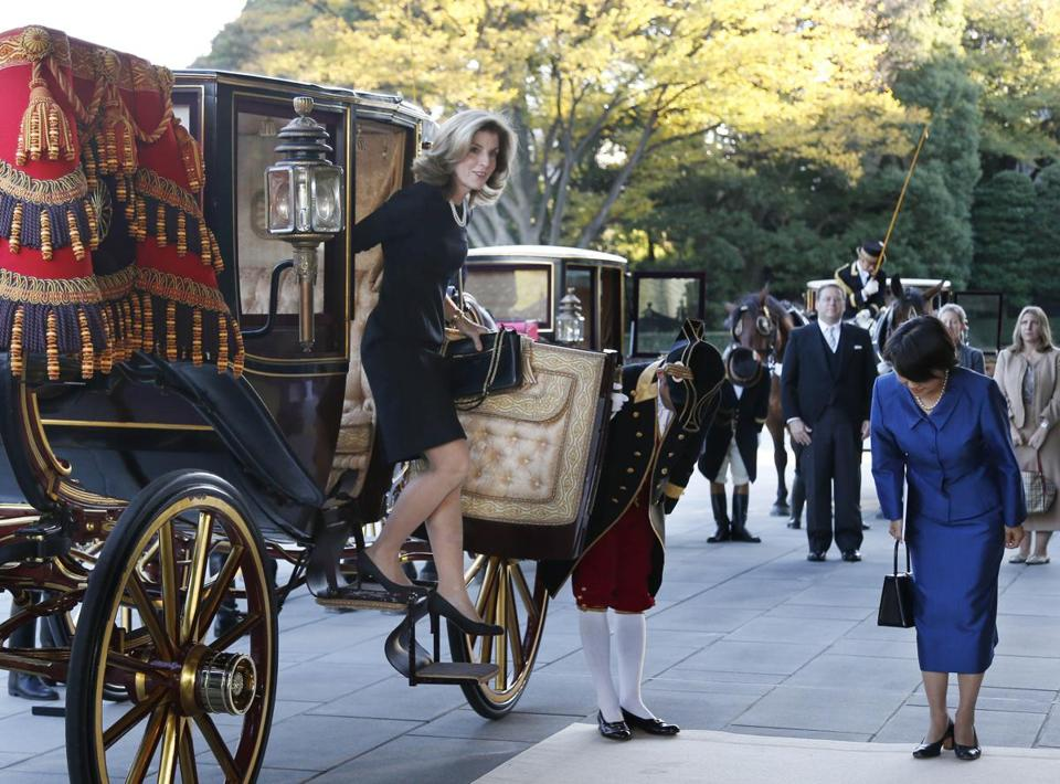 Caroline Kennedy was transported Tuesday in a carriage  built in 1913 by Imperial Household craftsmen.