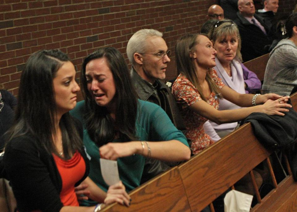 Family members of Middleboro resident Michael Dutra, who was killed in an October hit-and-run, became emotional during the arraignment of UMass-Darmouth student Eric Megna.
