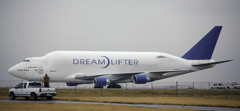 The Boeing 747 LCF Dreamlifter was seen after the aircraft accidentally landed at a small Wichita, Kan., airport.