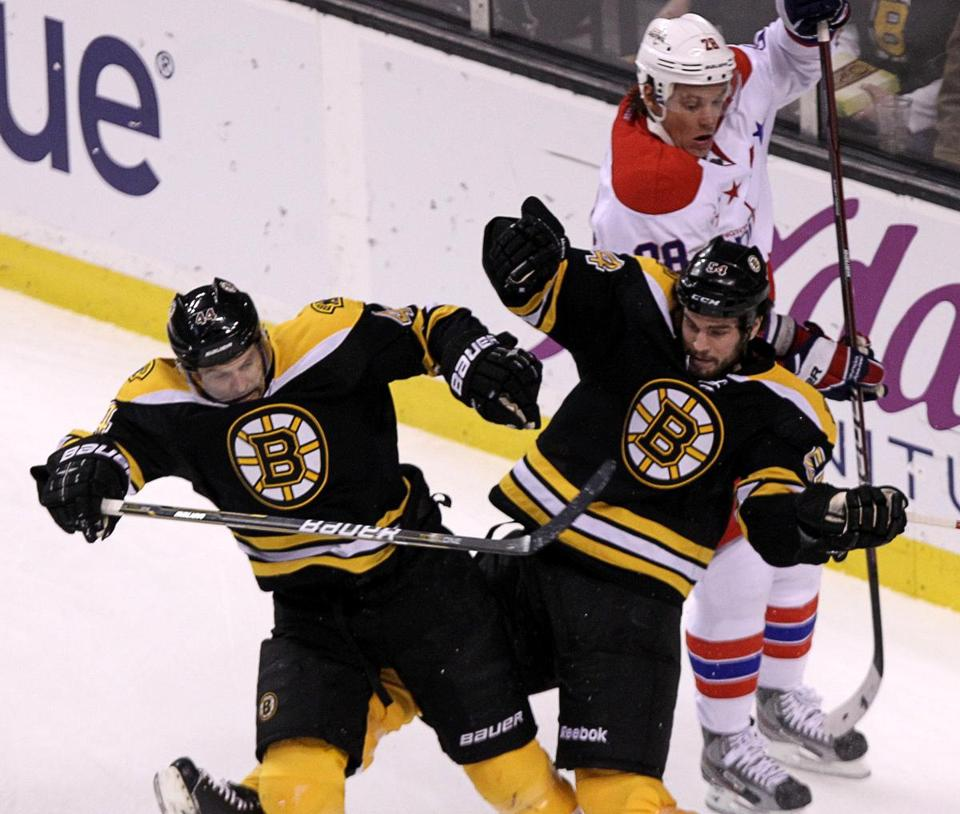 When will Dennis Seidenberg (left) and Adam McQuaid return to the Bruins' lineup?