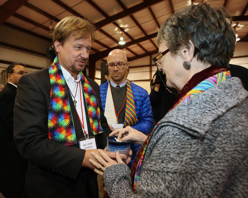 The Rev. Frank Schaefer with supporters after sentencing at his church trial over performing a same-sex marriage.