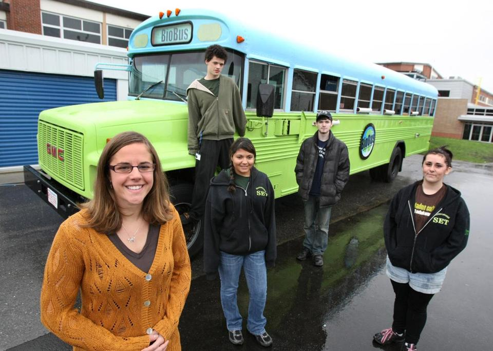 Southeastern Regional Vo-Tech High School has a new bus with cabinets made from scraps, floors made from old tires, and a grey water filtration system.