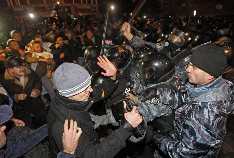 Protesters clashed with police at a mass demonstration in downtown Kiev. It was Ukraine's biggest protest since 2004.