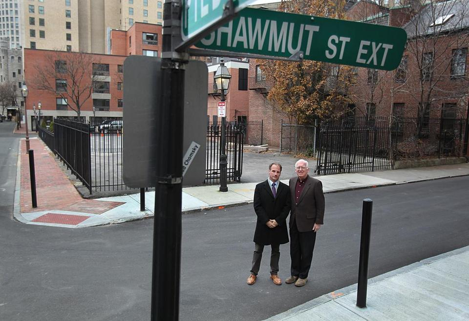 Paul Miller (left) and Mike Hanlon helped push an effort to rename the Shawmut Street Extension, where the Cocoanut Grove fire occurred.
