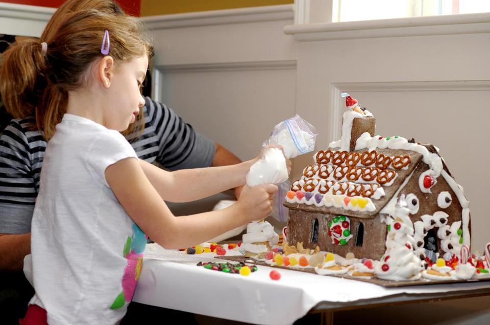 Here's a restored holiday tradition: At Zebra's Bistro and Wine Bar in Medfield, children (and adults) can make their own gingerbread houses.