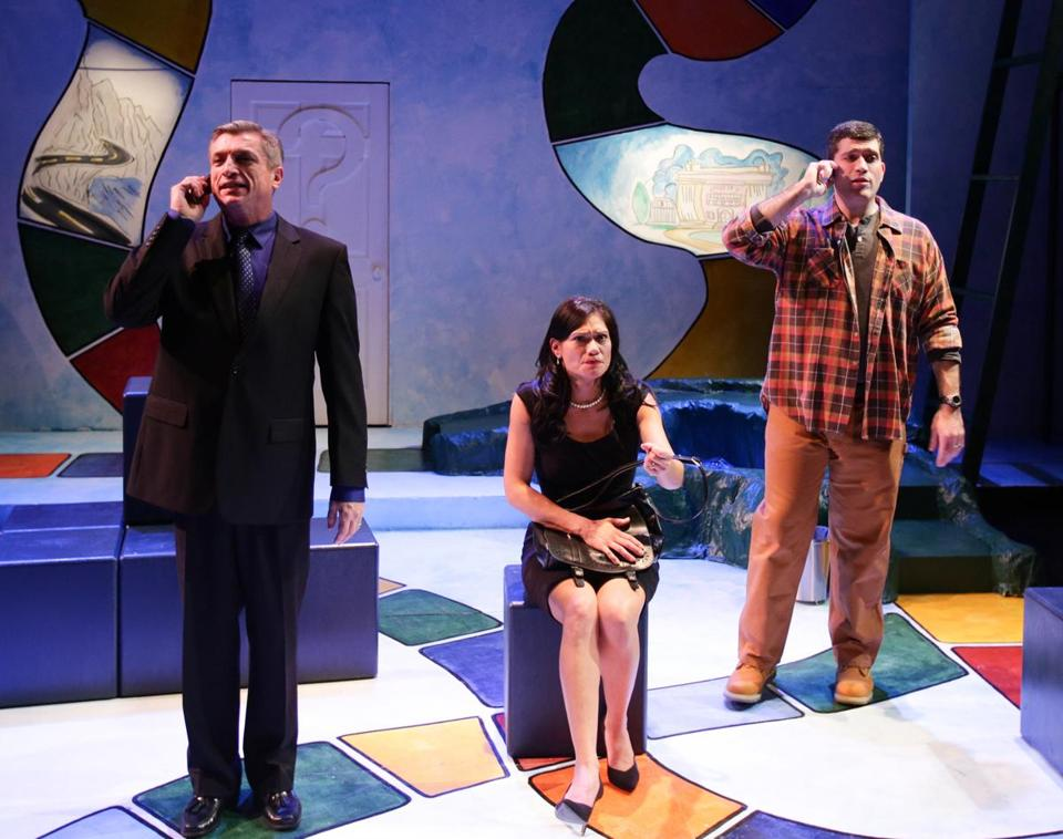 "From left: Will McGarrahan, Celeste Oliva, and Mike Dorval in Steven Dietz's ""Becky's New Car."""