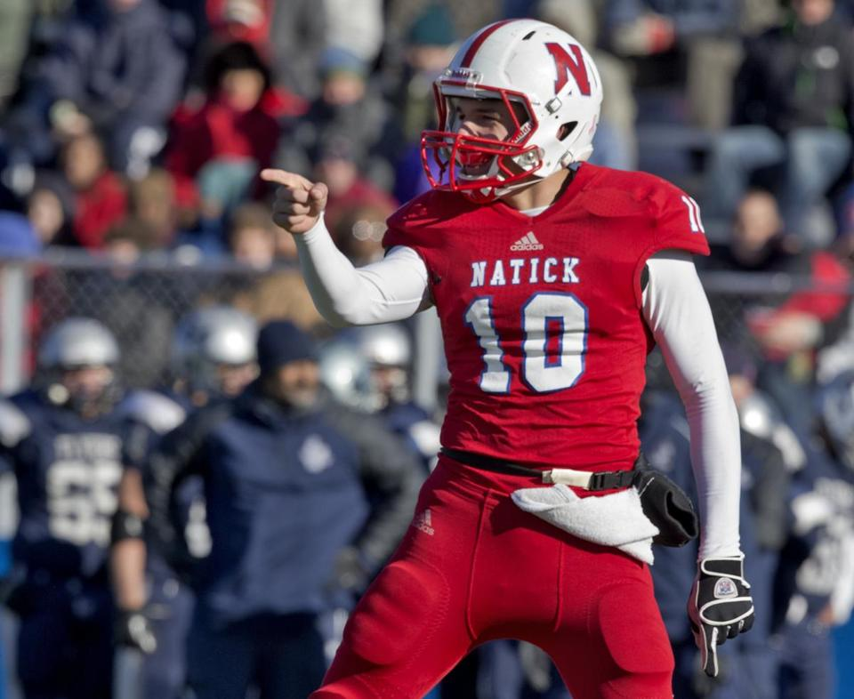 Natick quarterback Troy Flutie threw for a state record 47 touchdowns this season.