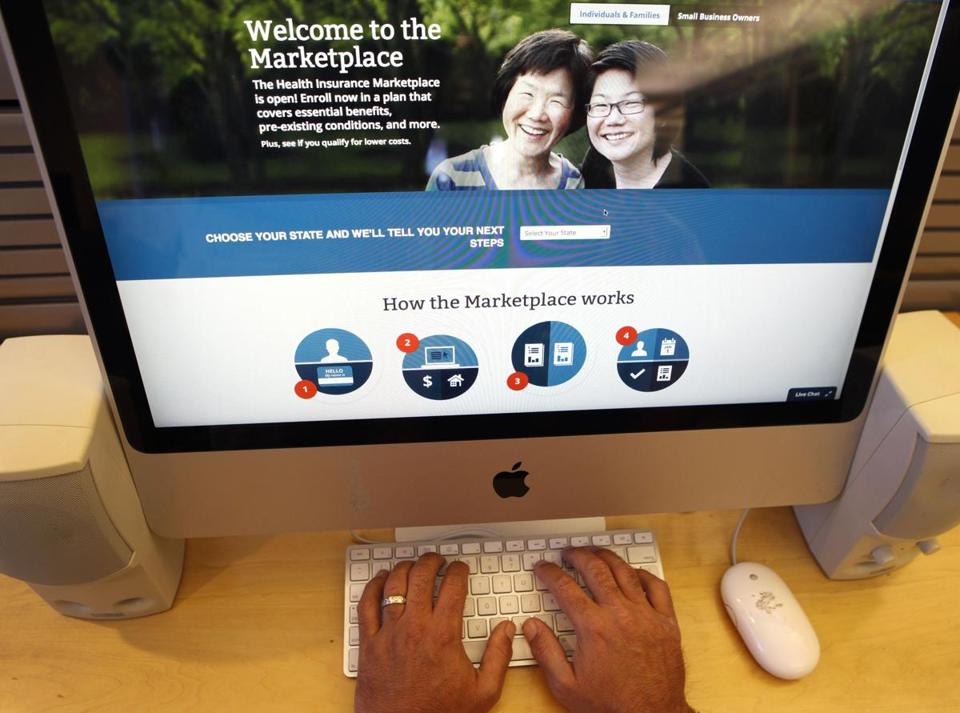 The sign up page for the Affordable Care Act.