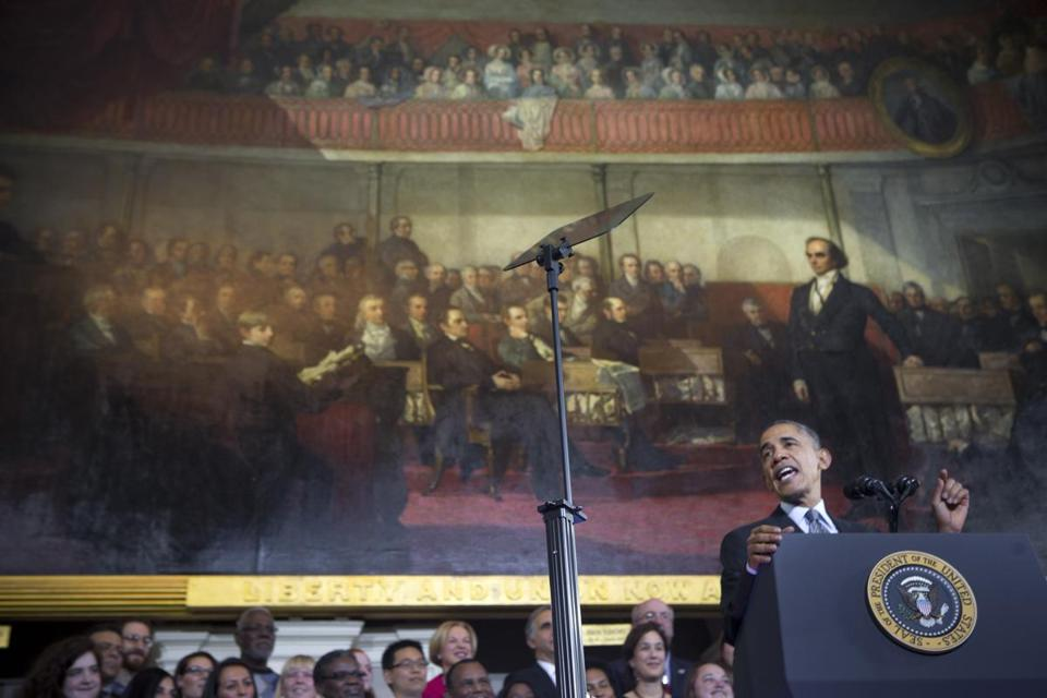 President Obama spoke at Faneuil Hall last month in Boston in defense of his signature health care law.