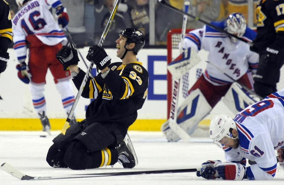 Zdeno Chara celebrated after scoring the go-ahead tally in the third period.