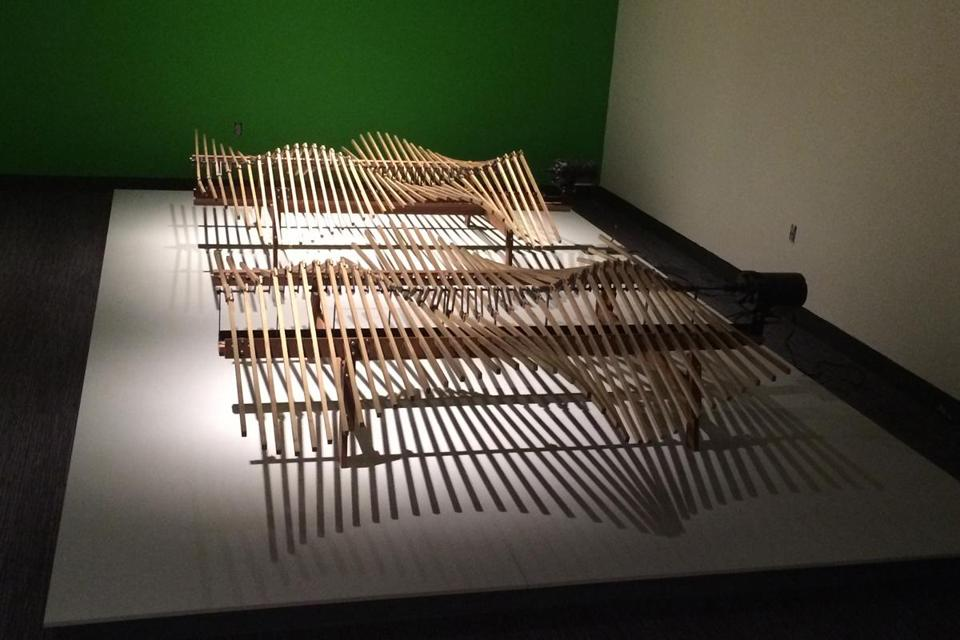 """Haliades,"" by John Douglas Powers, is among the works on display in the kinetic art exhibition, ""5000 Moving Parts,"" at the MIT Museum."