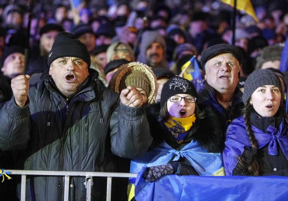 Demonstrators rallied in Kiev on Monday. Protesters occupied Kiev City Hall and the large Trade Unions building nearby and blockaded the Cabinet Ministry, preventing top officials from reaching their offices.
