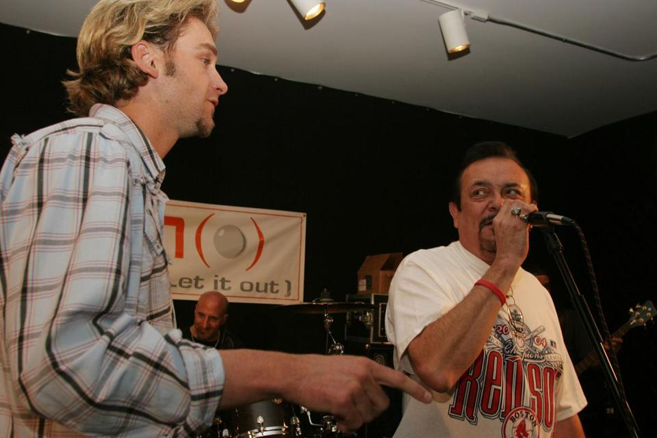 Dick Dodd (right) jammed with full-time pitcher and sometime guitarist Bronson Arroyo.