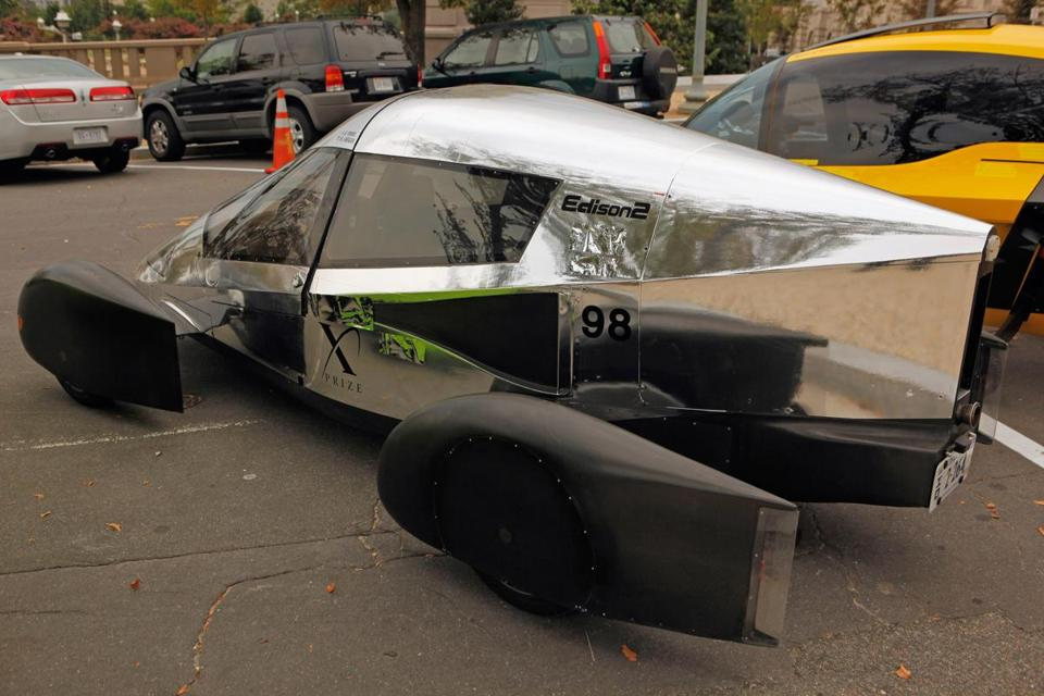 "The Automotive X Prize Mainstream Class winning vehicle, the Edison2 ""Very Light Car #98"" is displayed outside the US Capitol."