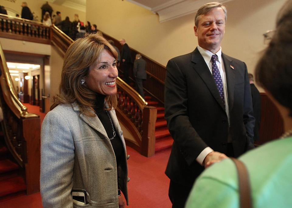 """We are our own brand on the social issues . . . embracing a woman's right to choose,"" said Karyn Polito (left), a Republican candidate for lieutenant governor, referring to herself and running mate, Charlie Baker (right)."