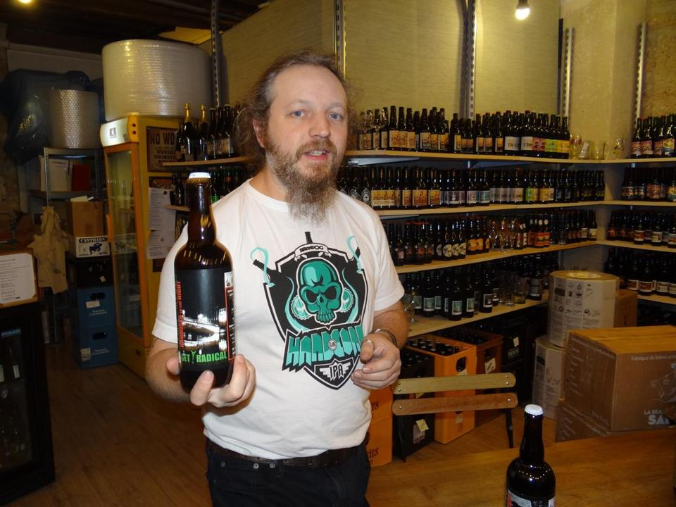 "Simon Thillou held a bottle of ""Get Radical,"" an experimental beer concocted by friends at a brewery in southern France."