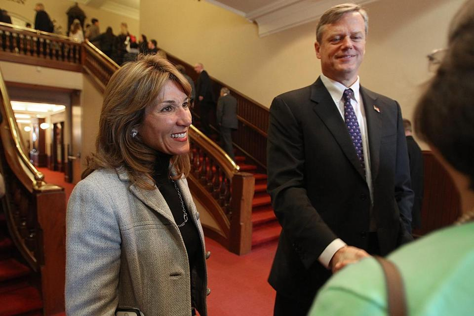 Charlie Baker and Karyn Polito greeted attendees at the Worcester Chamber of Commerce Tuesday.