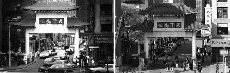 The gate in Boston's Chinatown in 1987 (left) and in 2011 (right).