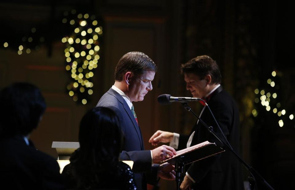 "Mayor-elect Martin Walsh read ""'Twas the Night Before Christmas"" beside Keith Lockhart at the opening night of the Holiday Pops in Boston on Wednesday."