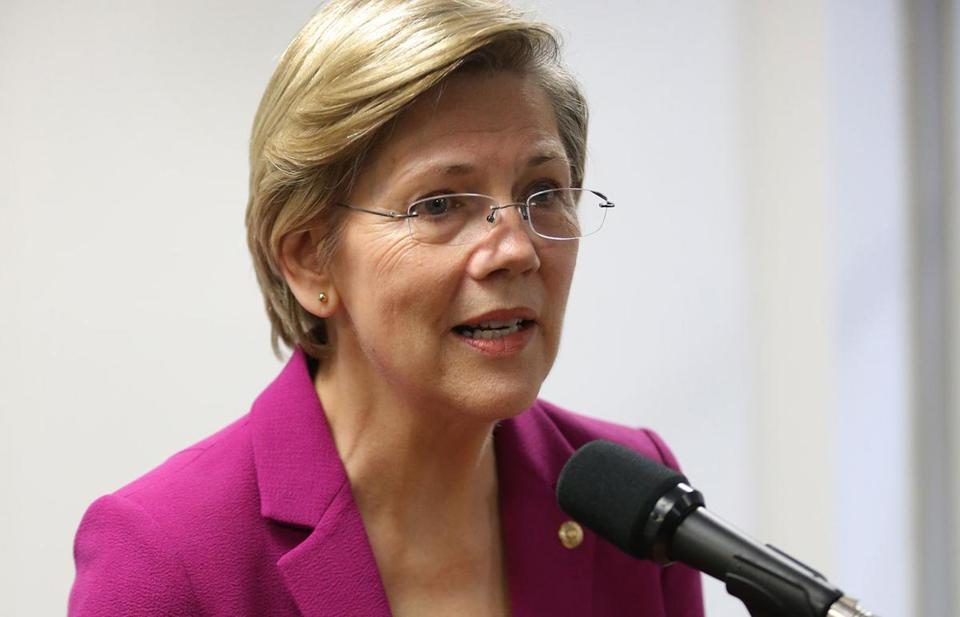 Senator Elizabeth Warren spoke in Boston on Wednesday.