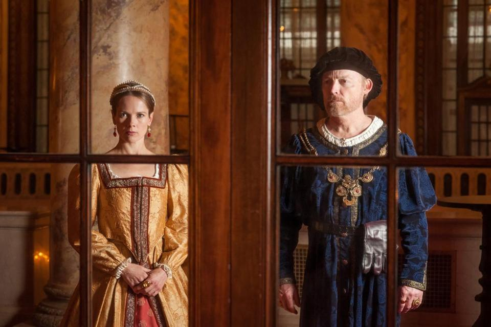 "Tamara Hickey plays Queen Katharine of Aragon and Allyn Burrows is King Henry VIII in Actors' Shakespeare Project's ""Henry VIII,"" directed by Tina Packer."