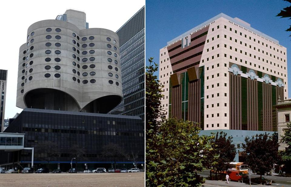 "DOOMED (left): The demolition of Chicago's Prentice Women's Hospital, designed by Bertrand Goldberg, has been called Modernism's ""Penn Station moment."" PRESERVED (right): The Portland Building in Portland, Ore., is on the National Register of Historic Places. Designed by Michael Graves, it's been called one of ""the world's ugliest."""