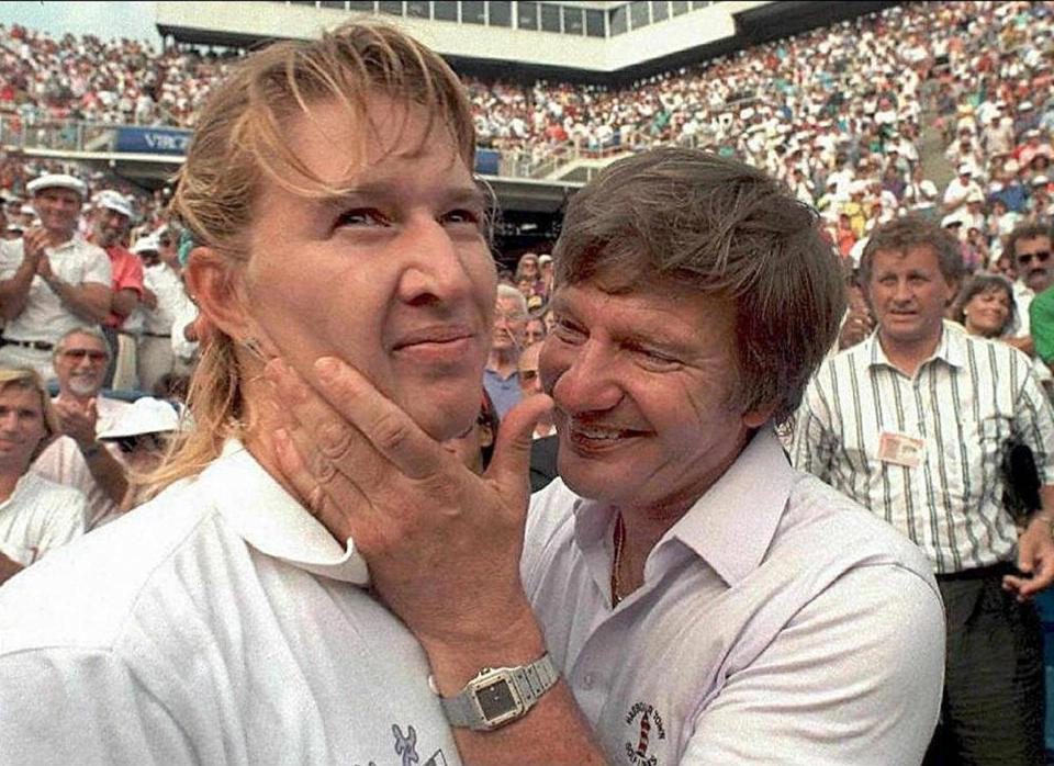 Steffi Graf with her father in 1989 during the US Open in Flushing Meadows, N.Y. She defeated Martina Navratilova.