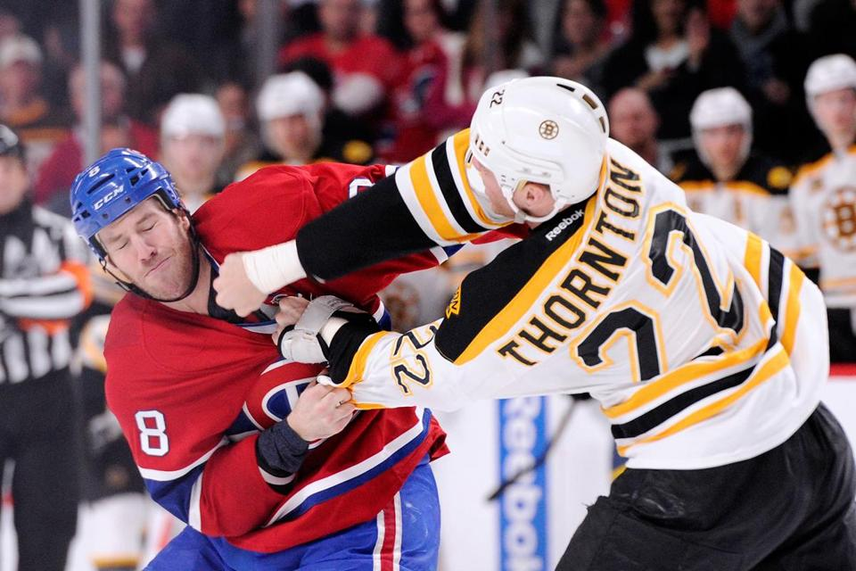 Shawn Thornton fought with Brandon Prust on Thursday.