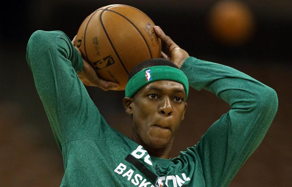 Rajon Rondo has been doing light drills but no five-on-five or contact play. (AP Photo/Michael Dwyer)